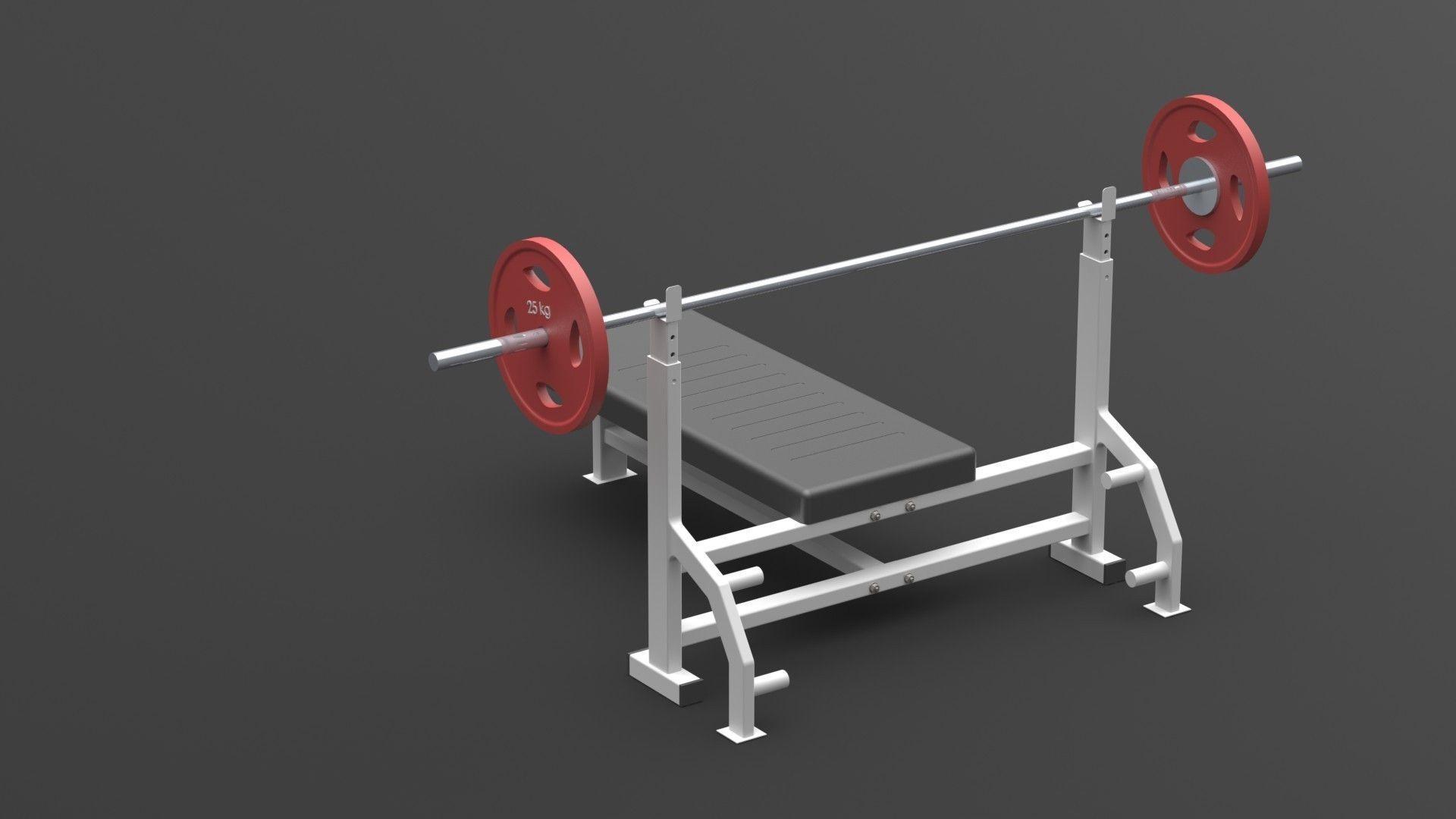gym chest chair crushed velvet kitchen covers press bench barbell 3d model sldprt sldasm