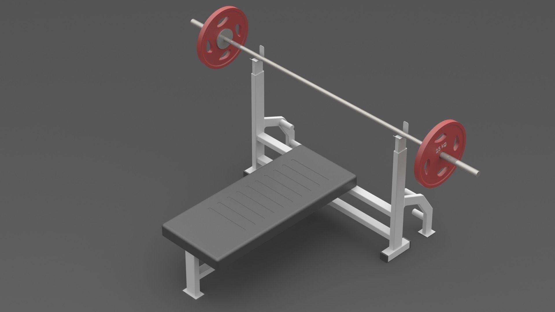 gym chest chair swivel dubai press bench barbell 3d model sldprt