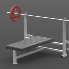 Gym Chest Chair Ikea Spare Covers Press Bench Barbell 3d Model Sldprt Sldasm