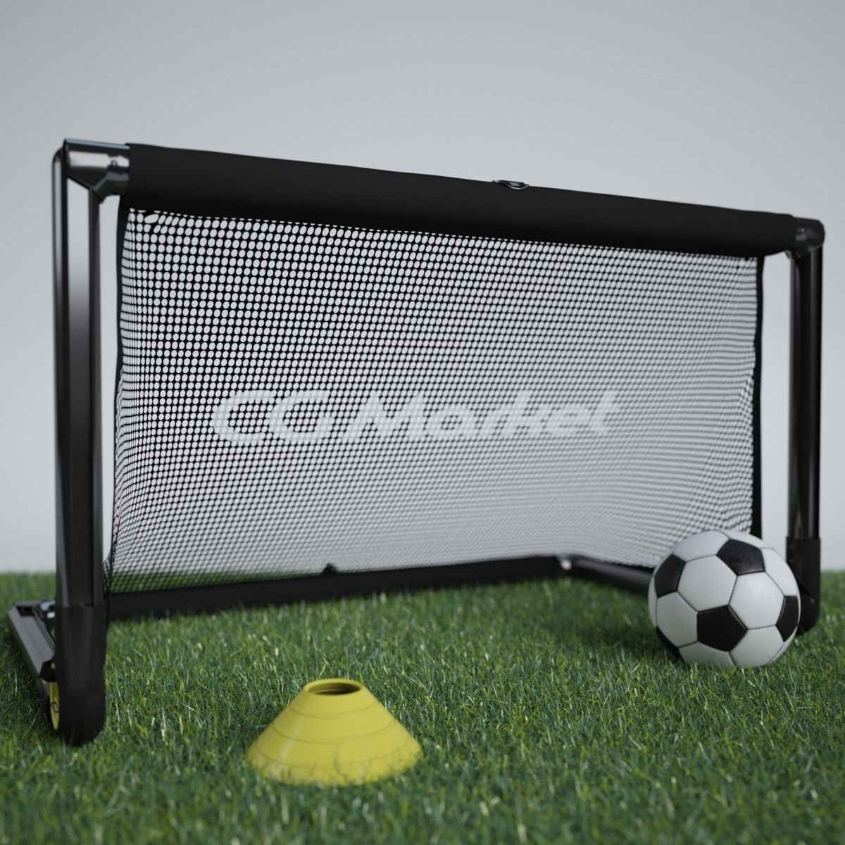 Portable Soccer Goal And Soccer Ball With Training Cone 3d