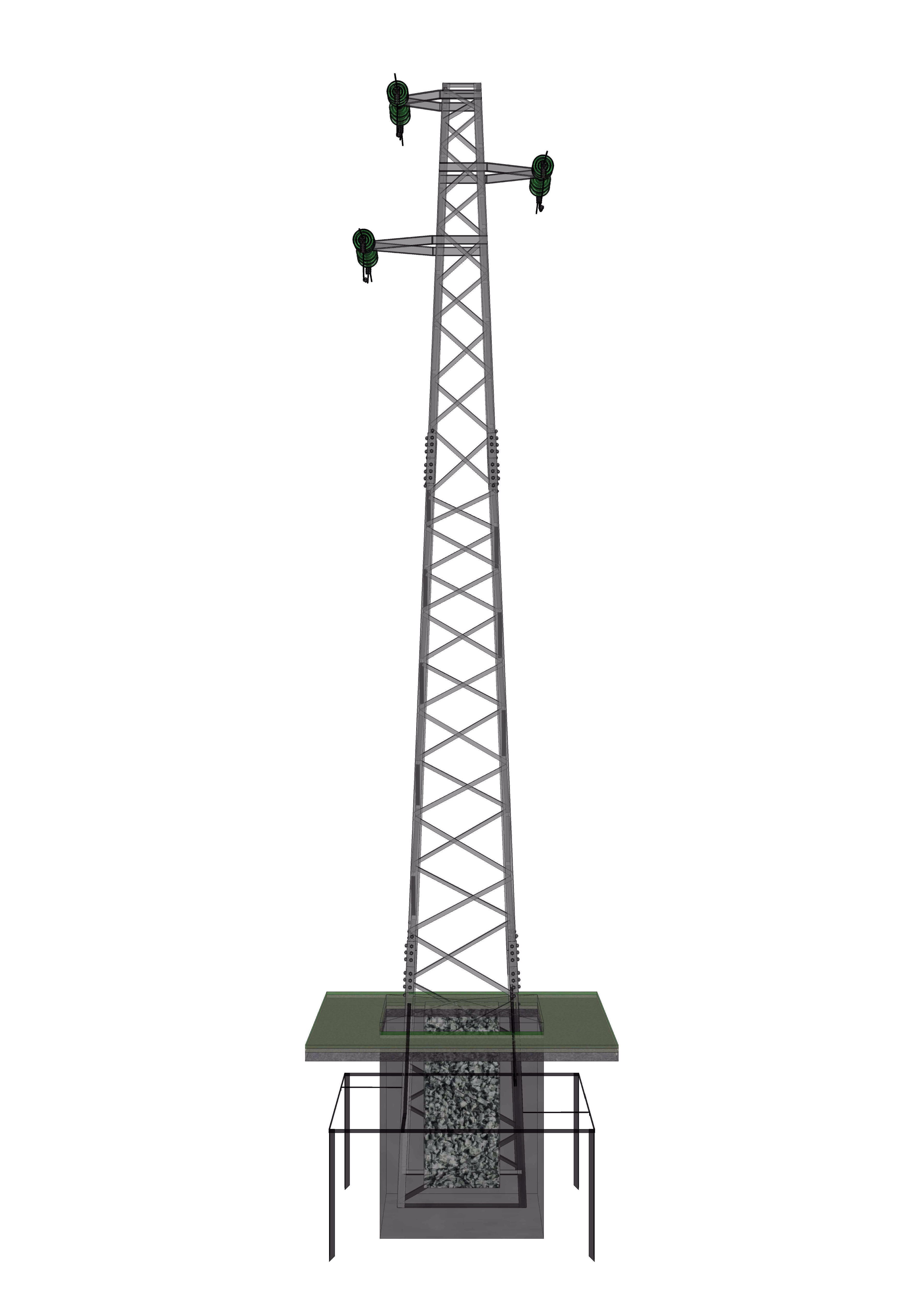 Voltage Overhead Power Line Tower 951 Free 3d Model Dwg