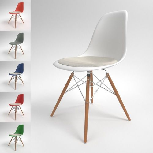 eames bucket chair yellow and white accent chairs vitra plastic dsw blender cycles 3d model