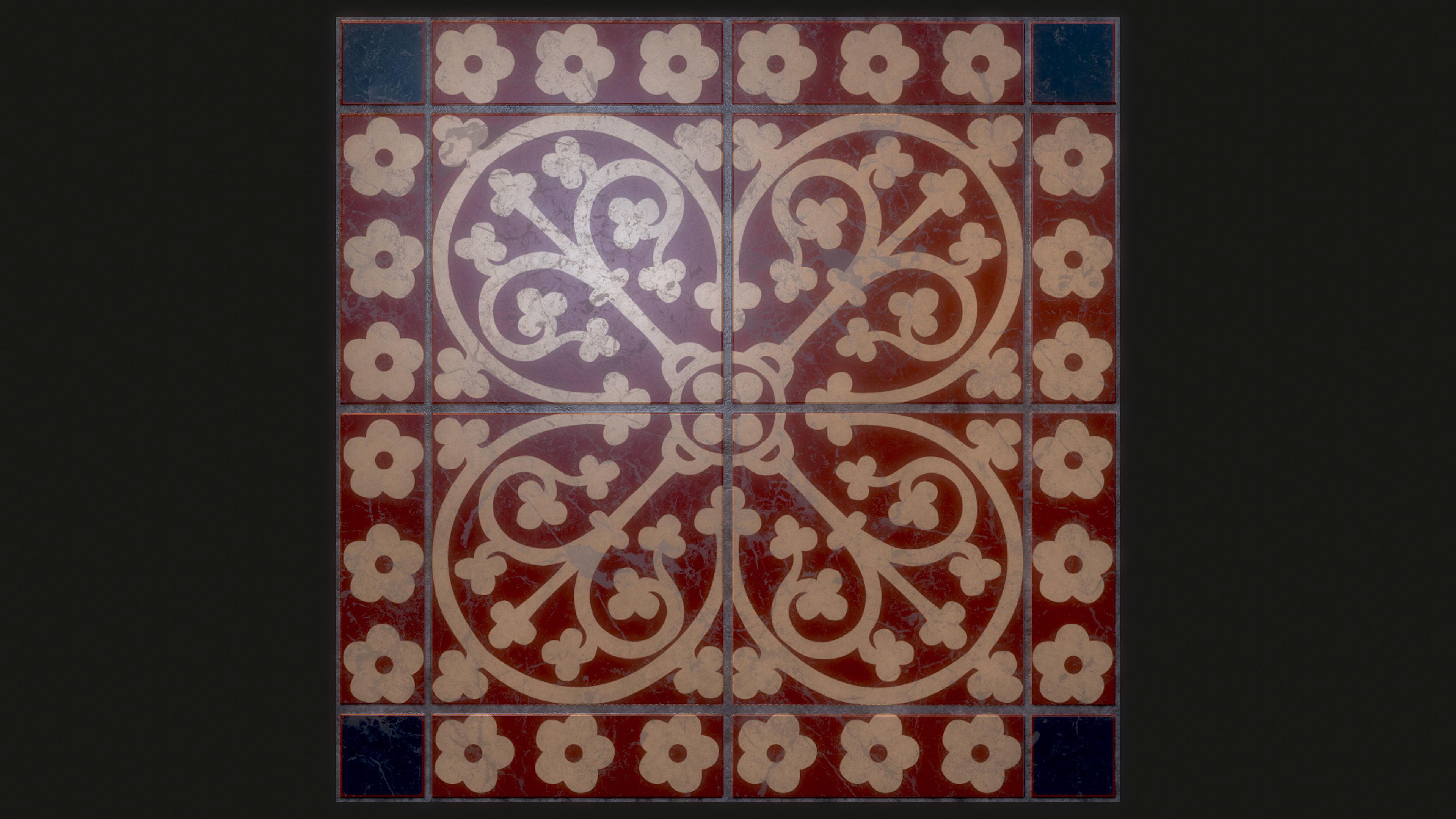 decorative medieval ceramic floor tile an authentic replica texture