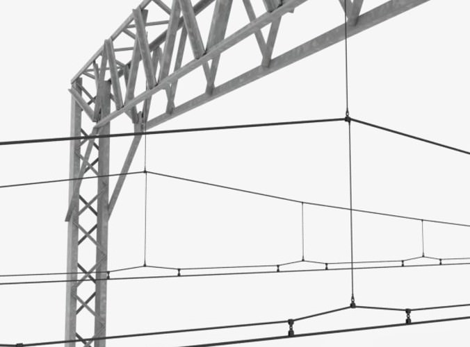 Railway Track and Catenary 3D Model .max .obj .3ds .fbx