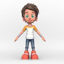 boy cartoon 3d v1 animated poly low cgtrader vr ar