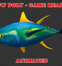 low poly yellowfin tuna fish animated game ready low poly 3d model [ 1280 x 980 Pixel ]