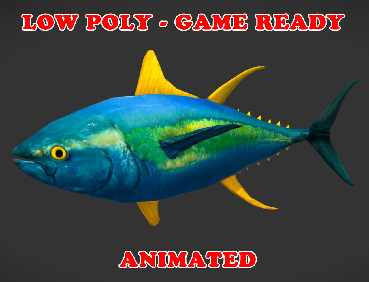hight resolution of low poly yellowfin tuna fish animated game ready low poly 3d model