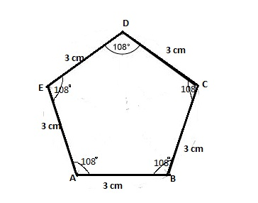 Draw a regular pentagon and construct a square with area