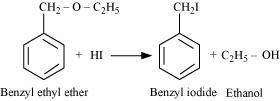 benzyl ethyl ether on reaction with HI gives benzyl iodide