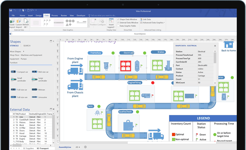 Visio flowchart showing detailed transportation logistics related to  trucking company also maker and diagramming software microsoft rh products office
