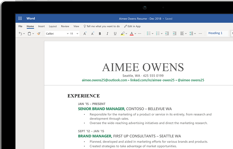 How To Create Resume On Word Free Microsoft Office Online Word Excel Powerpoint