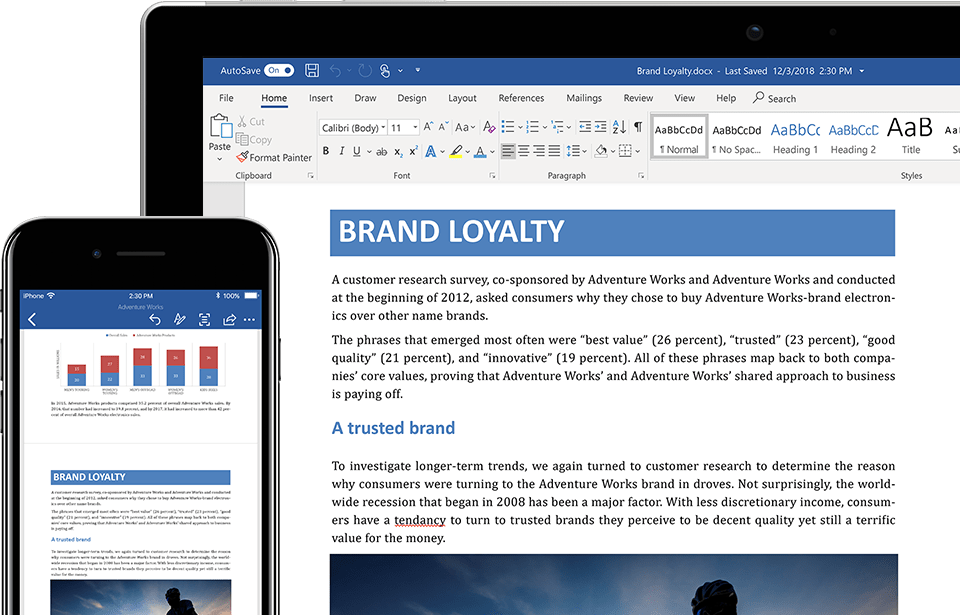Laptop And Iphone Displaying A Word Document