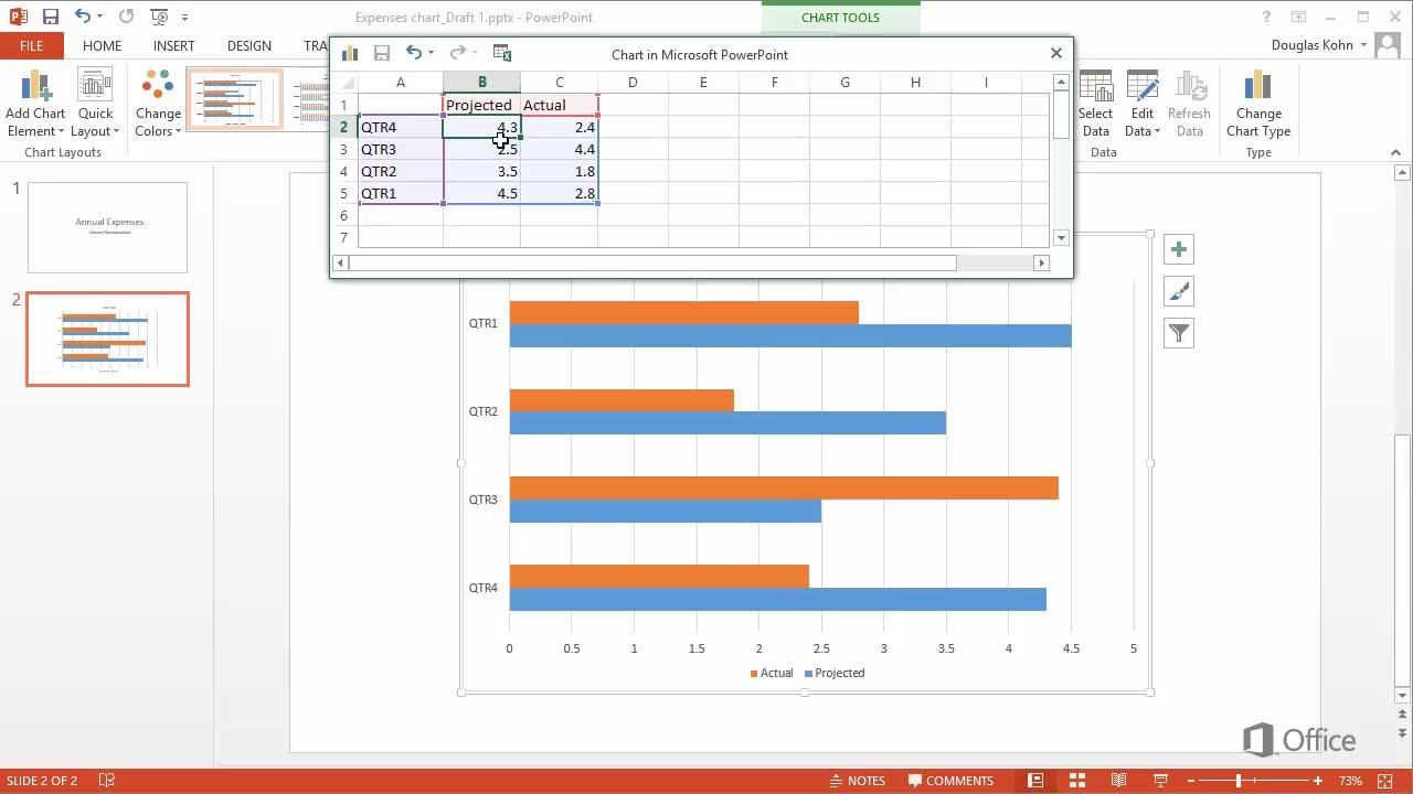 also video insert  bar chart powerpoint rh support office
