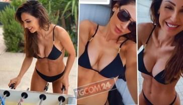 Anna Tatangelo gioca a calcetto in bikini e infiamma il campo