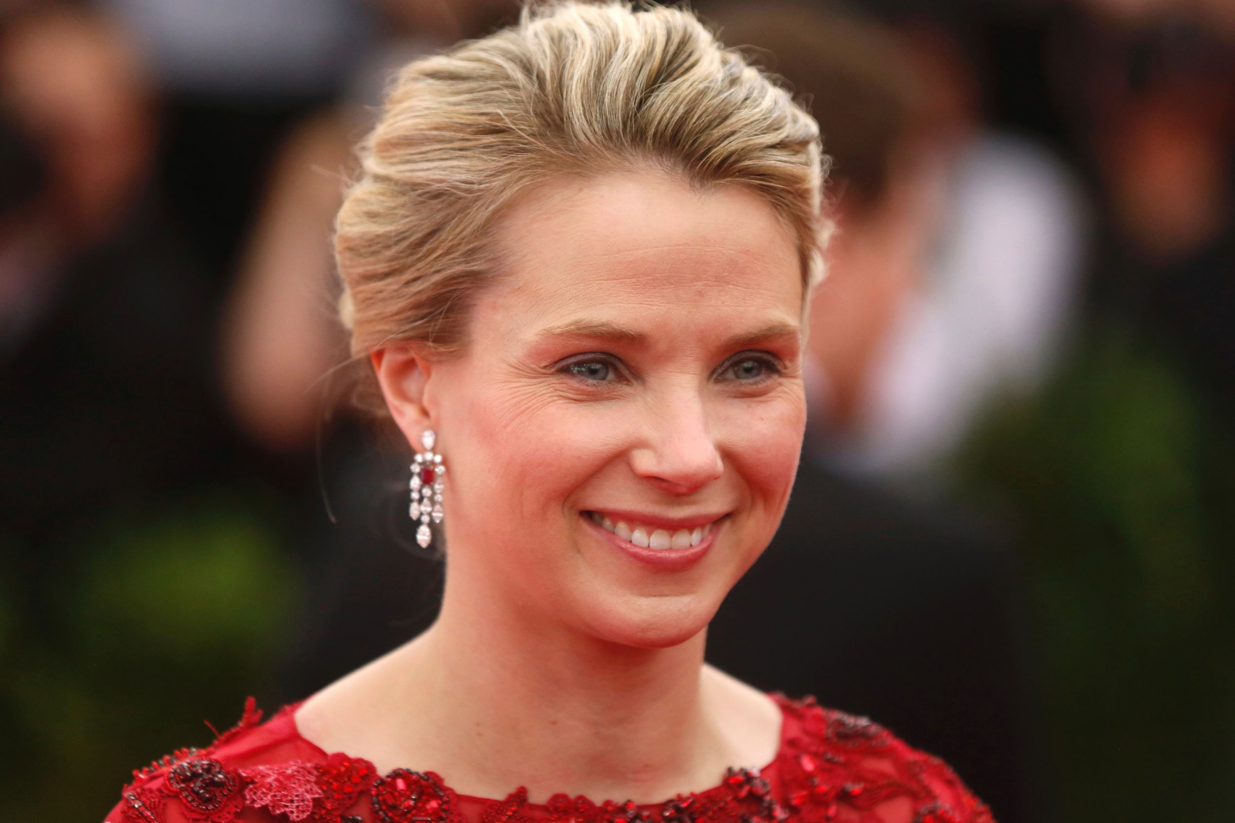 Yahoo! CEO Marissa Mayer arrives at the Metropolitan Museum of Art Costume Institute Gala in New York in May.