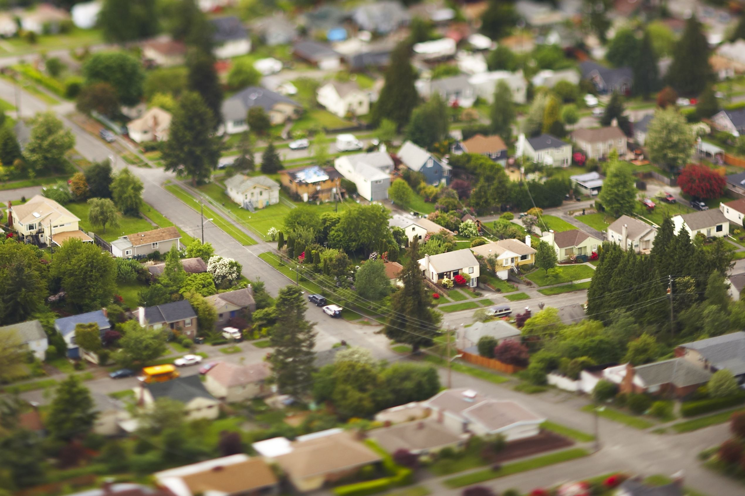 Aerial view of a suburban community.