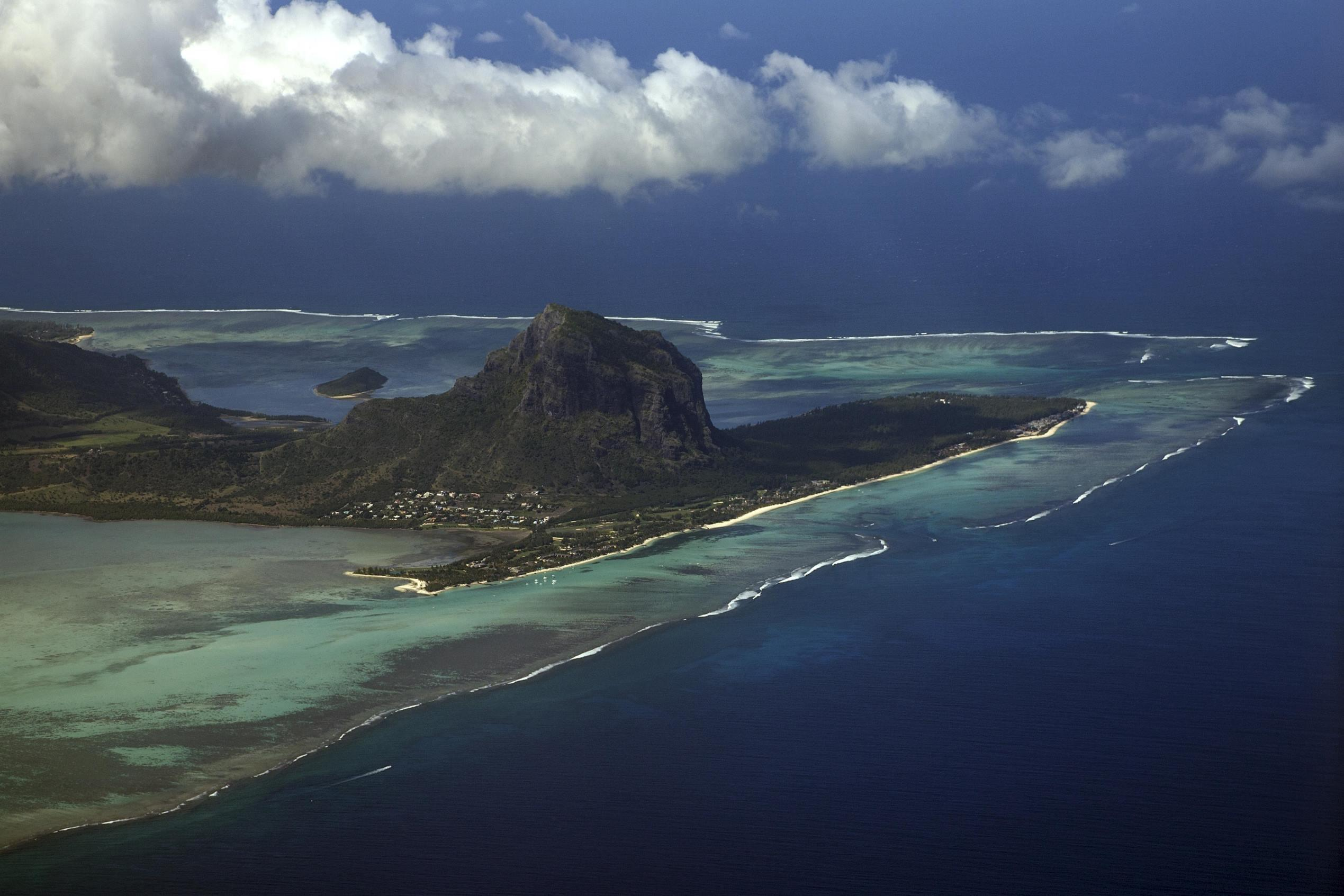 Aerial view, view on the East coast and the peninsula with the Le Morne Brabant beach, Mauritius