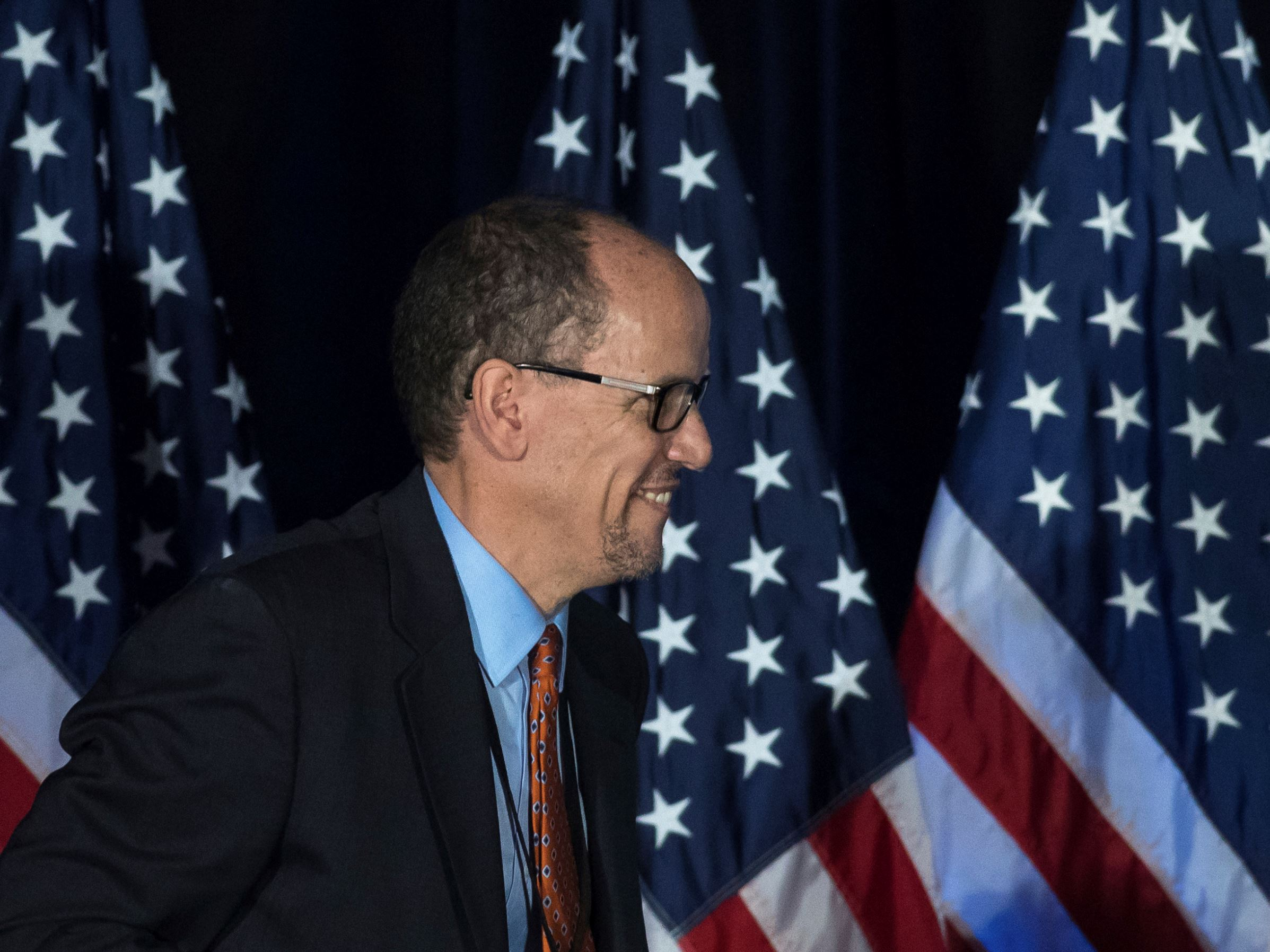 Former Labor Secretary Tom Perezbefore speaking during the general session of the DNC winter meeting in Atlanta, Saturday, Feb. 25, 2017.