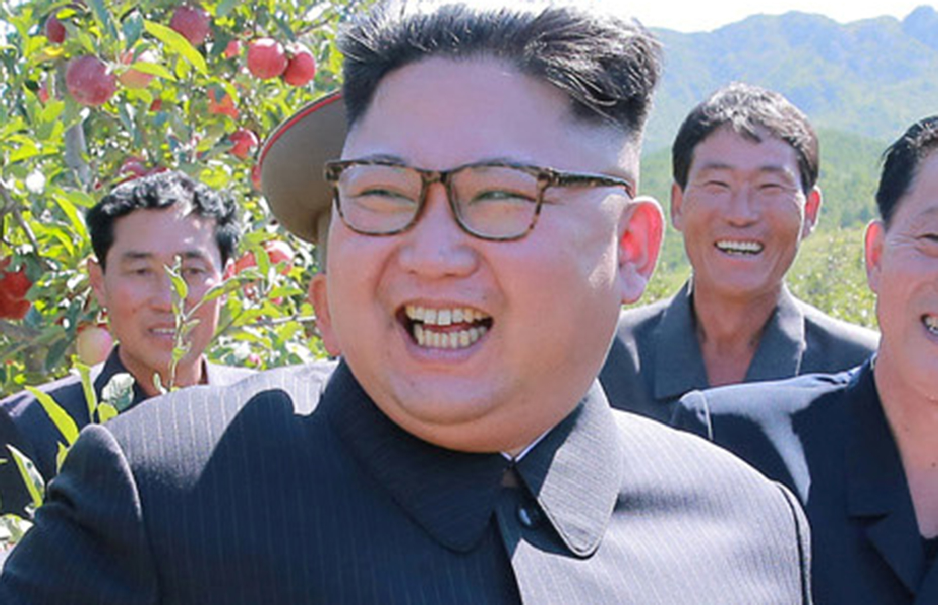 North Korean leader Kim Jong Un gives field guidance during a visit to a fruit orchard in Kwail county, South Hwanghae province in this undated photo released by North Korea's Korean Central News Agency (KCNA) in Pyongyang.