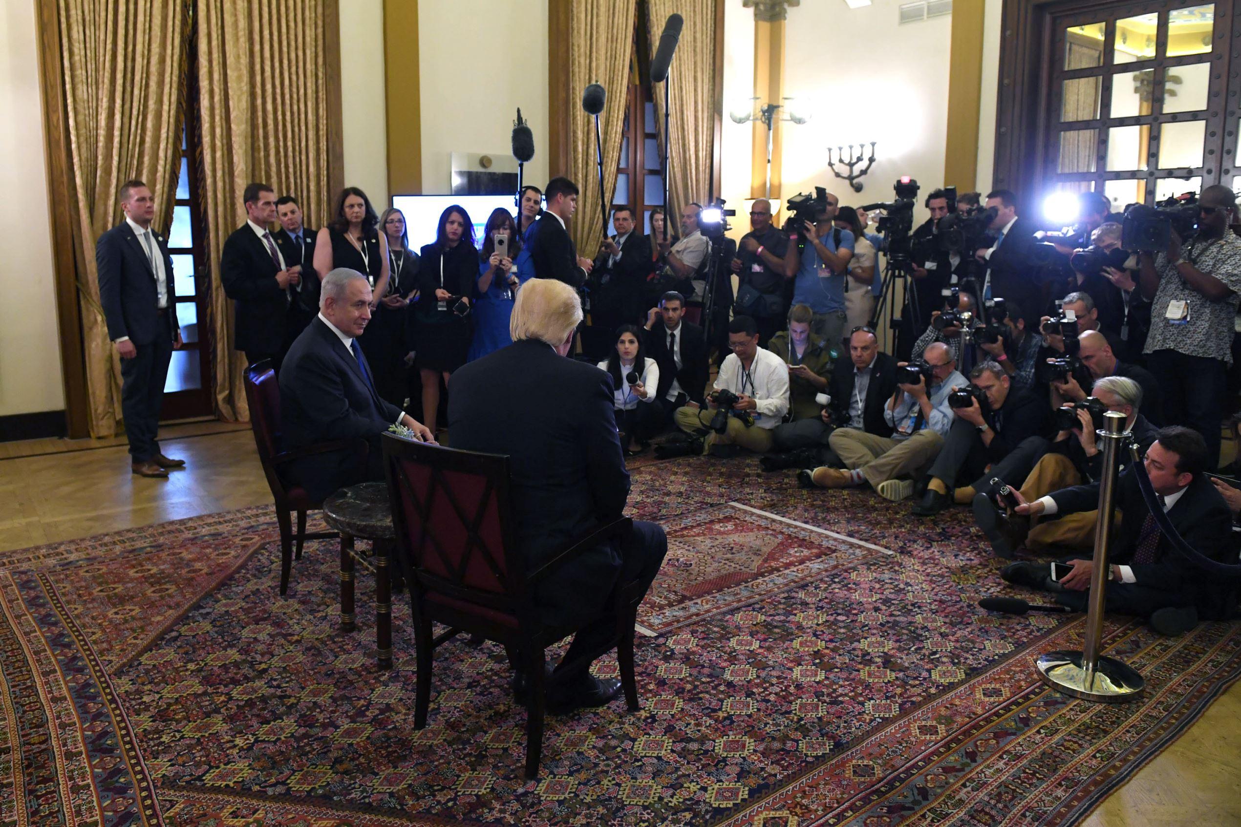 Slide 3 of 51: President Trump meets with Israel Prime Minister Benjamin Netanyahu at the King David Hotel on May 22 in Jerusalem.