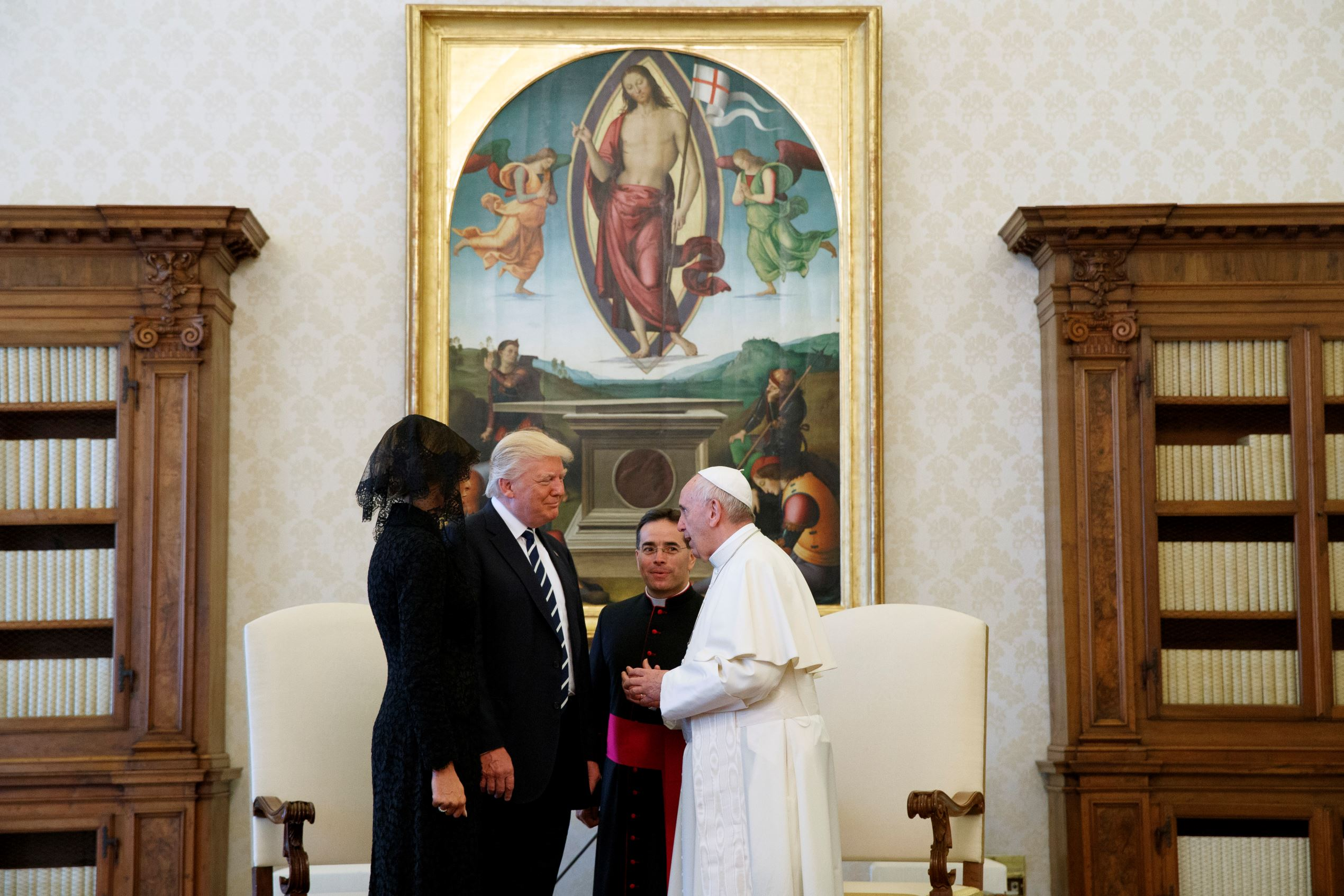 President Donald Trump and first lady Melania Trump meet Pope Francis, Wednesday, May 24, 2017, at the Vatican.
