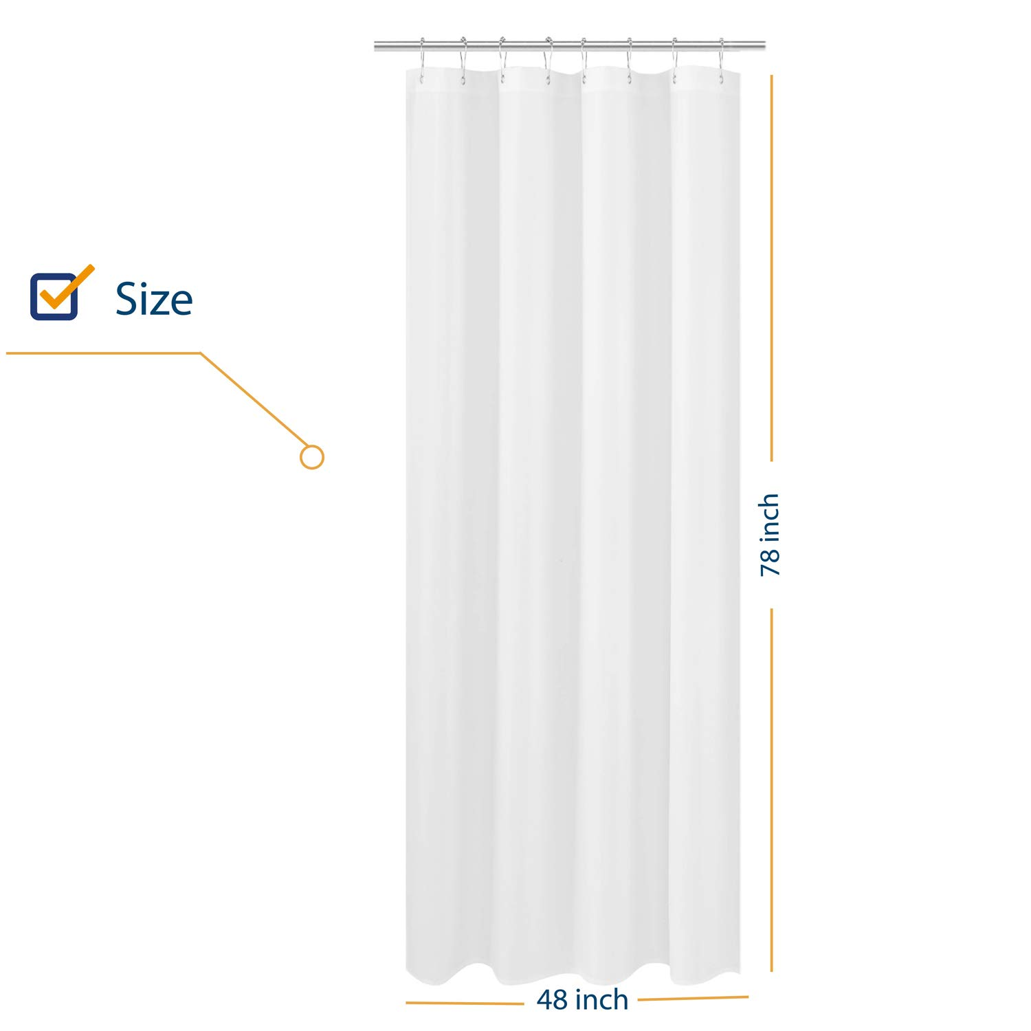 n y home fabric shower curtain liner long stall size 48 x 78 inches hotel quality washable water repellent white bathroom curtains with grommets