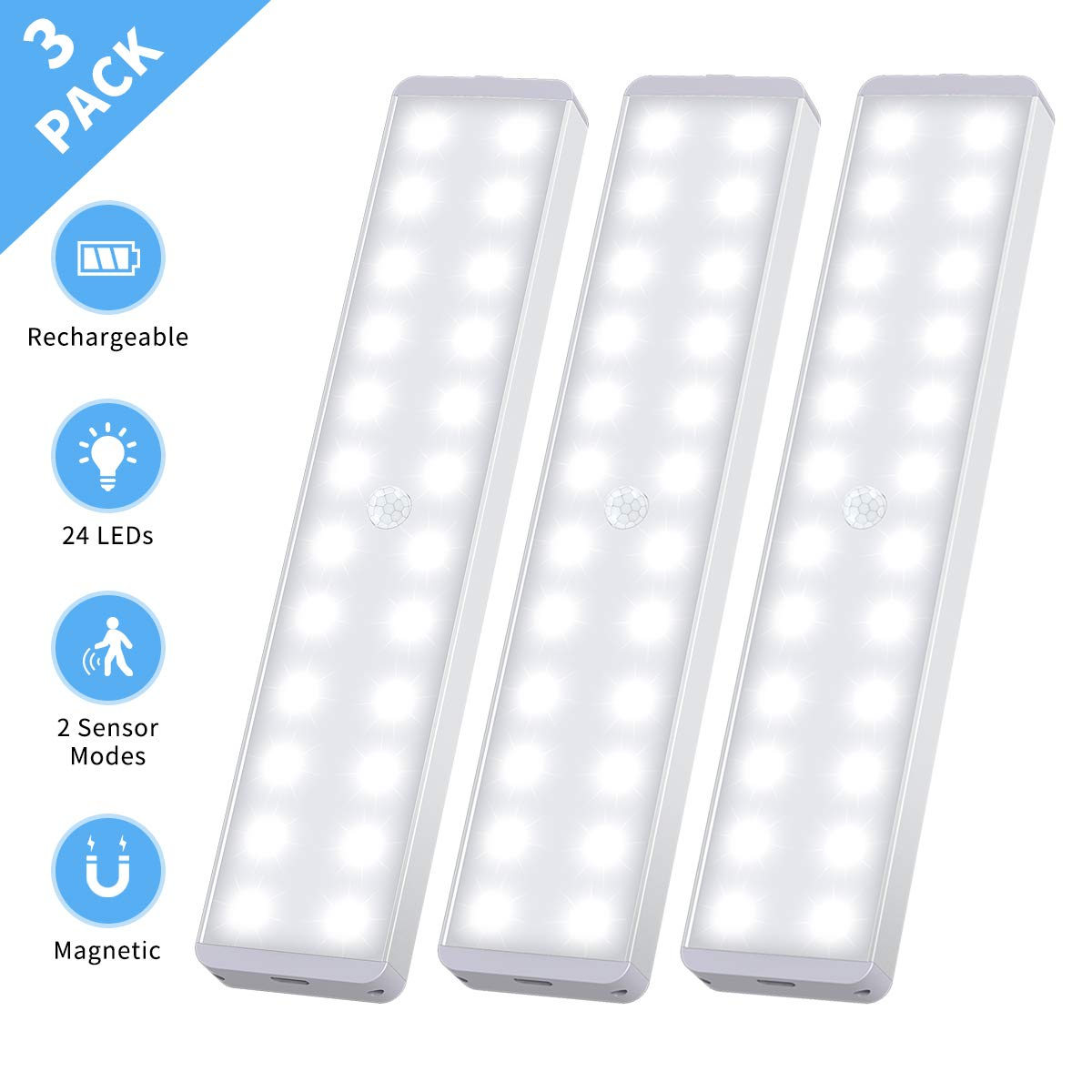 led closet light 24 led motion activated under cabinet lights rechargeable battery operated night lighting wireless motion sensor light stick