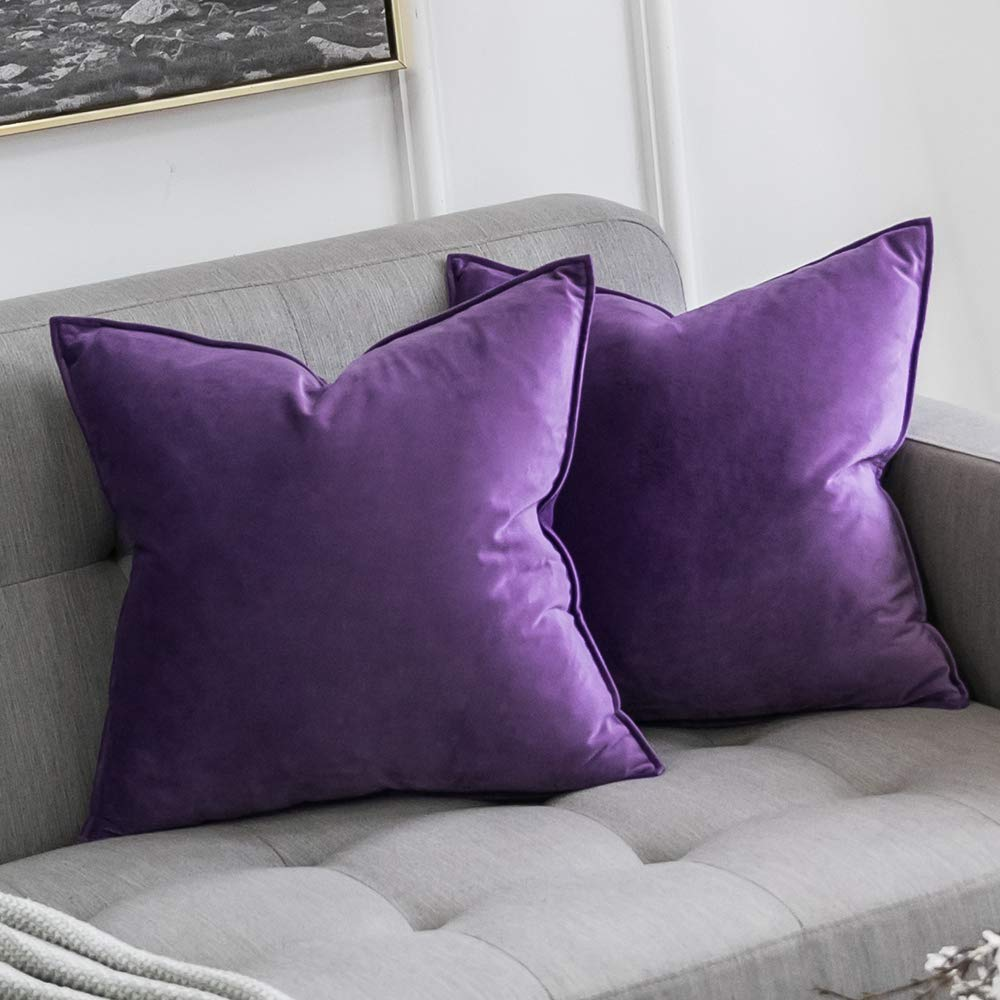 miulee pack of 2 decorative velvet throw pillow cover soft pillowcase solid square cushion case for sofa bedroom car 24x24 inch 60x60 cm purple