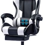 Gtplayer Gaming Chair With Footrest Ergonomic Massage Office Chair For Adults Adjustable Swivel Leather Computer Chair High Back Desk Chair With Headrest And Massager Lumbar Support White
