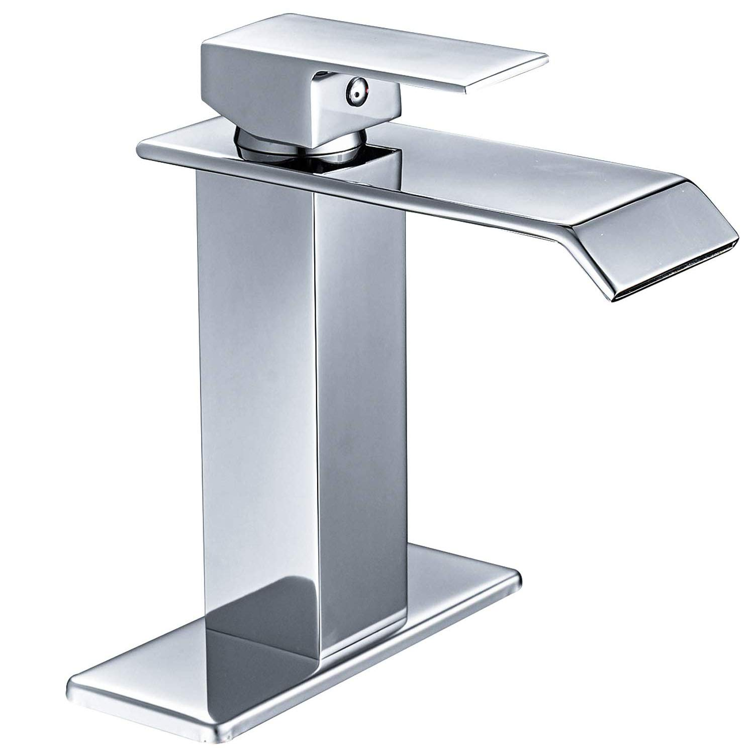 homevacious bathroom faucet waterfall chrome single handle modern lavatory sink vanity faucets one hole lever extra large rectangular spout basin deck