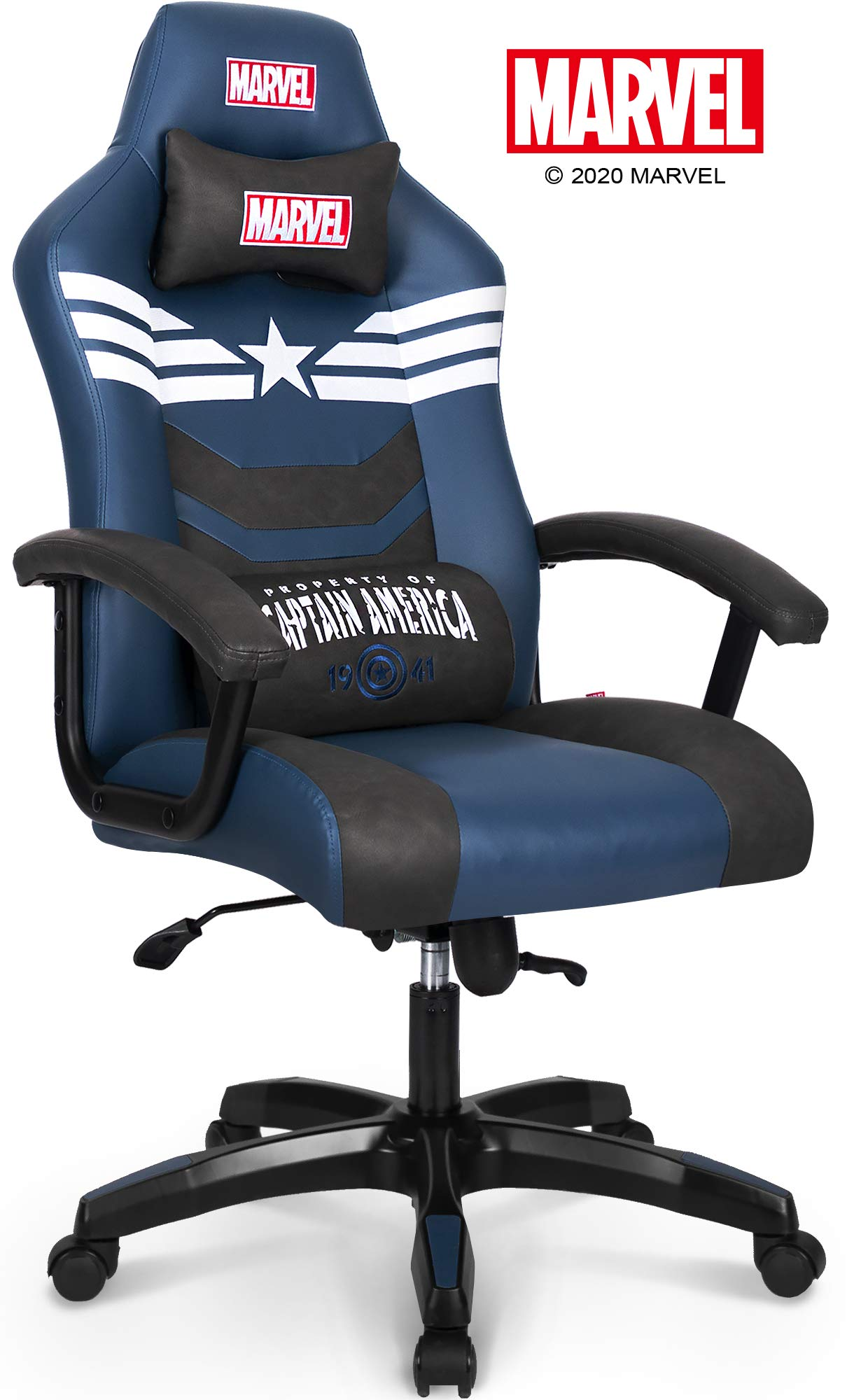 Marvel Avengers Captain America Big Wide Heavy Duty 330 Lbs Gaming Chair Office Chair Computer Racing Desk Chair Blue White Endgame Infinity War Series Marvel Legends