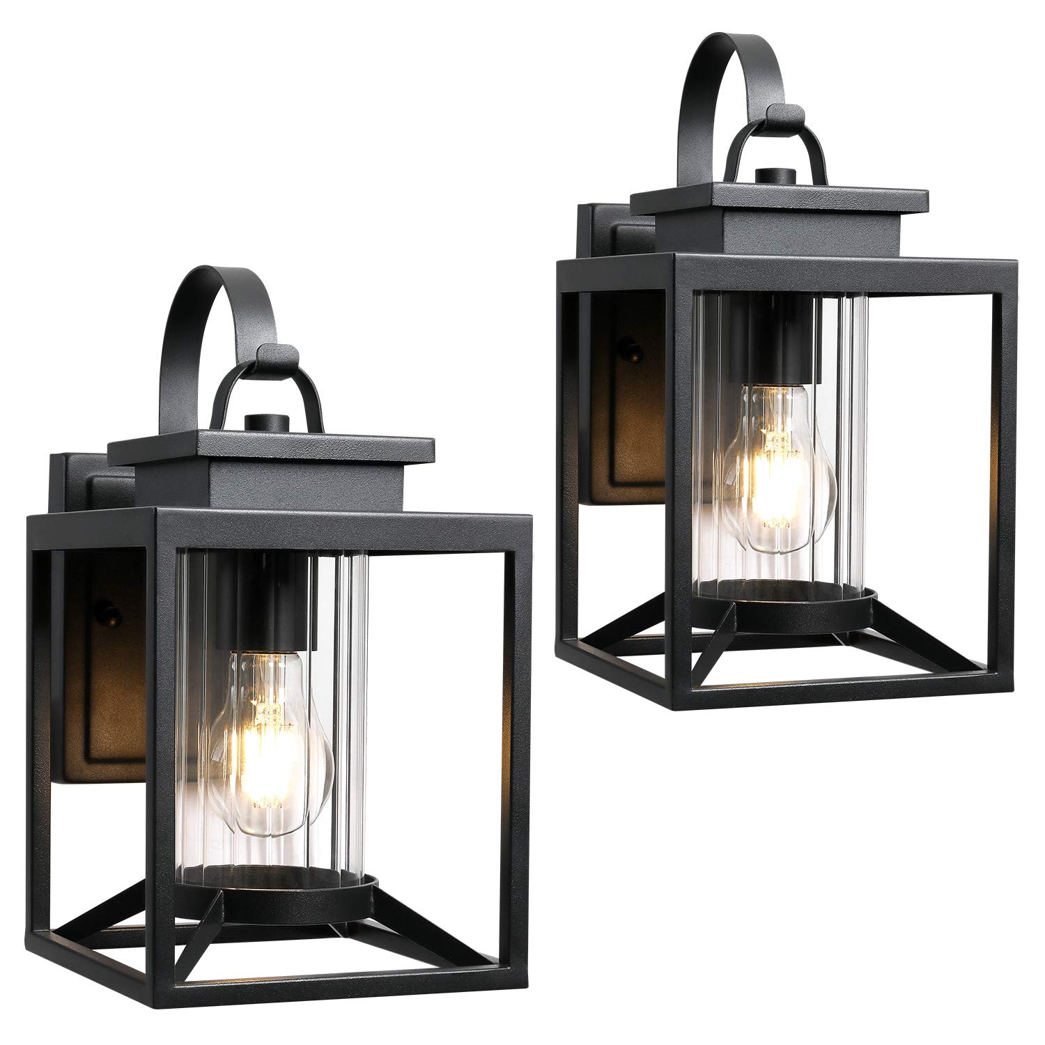 Osimir Outdoor Wall Light 2 Pack Modern Farmhouse Outdoor Wall Sconce Lighting In Black Finish With Cylinder Glass 2353 1w 2pk