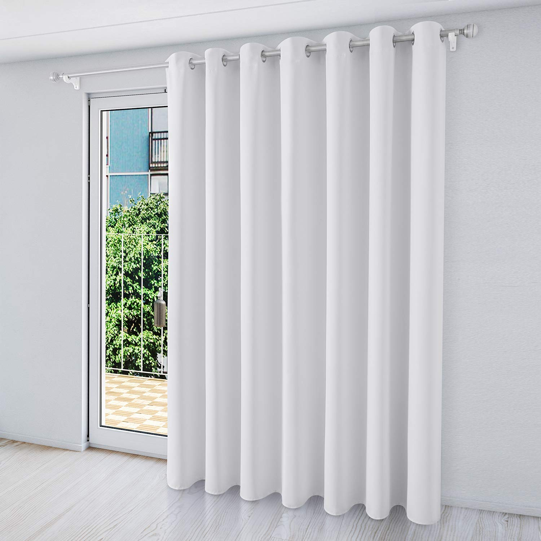 homeideas blackout patio door curtain panel wide 100 x 84 inch long greyish white thermal sliding door darkening curtain extra wide window grommet
