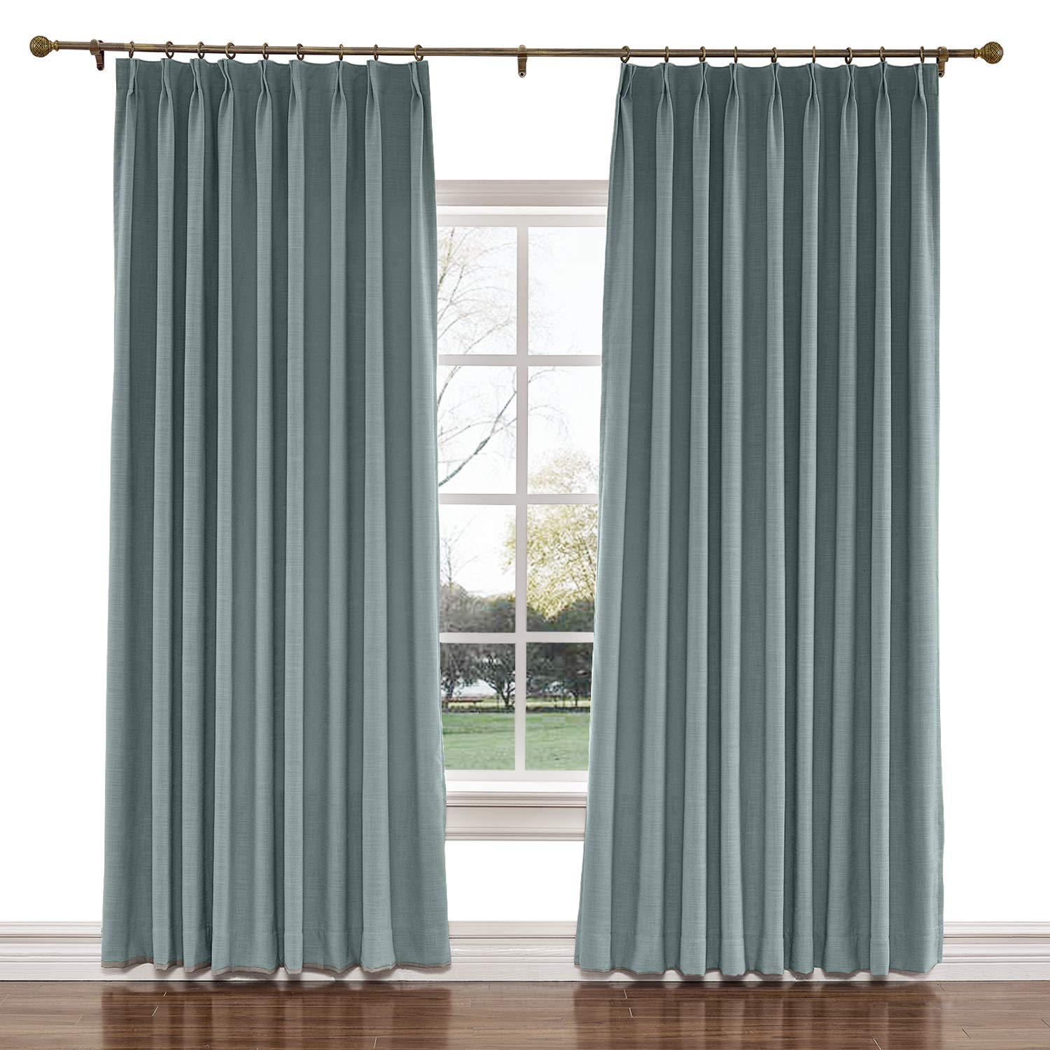 twopages 100 w x 96 l inch pinch pleat darkening drapes faux linen curtains with blackout lining drapery panel for living room bedroom meetingroom