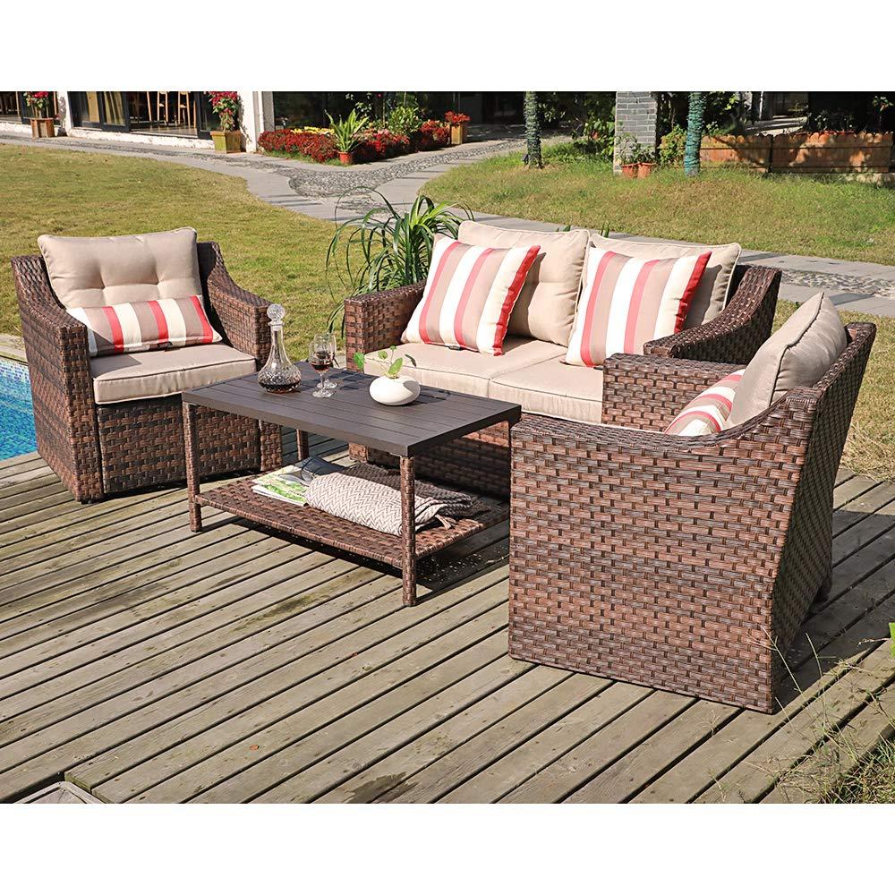 sunsitt 4 piece patio conversation set all weather woven brown wicker furniture beige cushions coffee table w aluminum top
