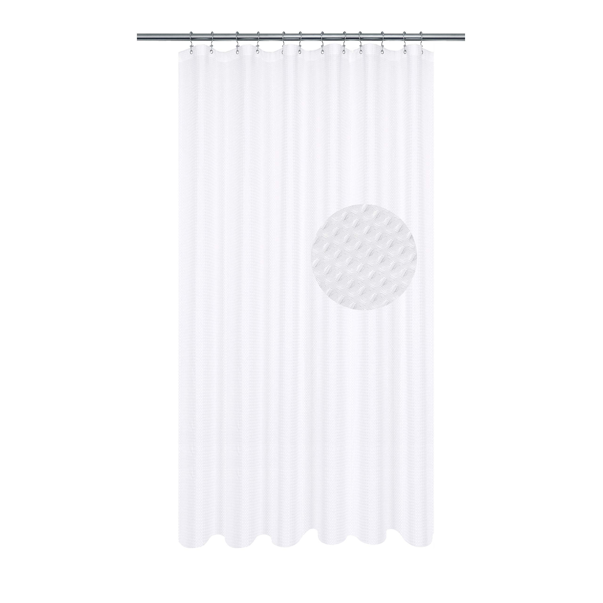 extra long shower curtain with 84 inch height fabric waffle weave hotel collection water repellent machine washable 230 gsm heavy duty white