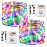 Liyuanq Battery Operated String Lights 2 Pack 100 Led Waterproof Rope String Lights Outdoor Fairy Pvc Tube Lights 8 Modes 33ft Battery Rope Lights For Garden Party Christmas Decor Multi Color