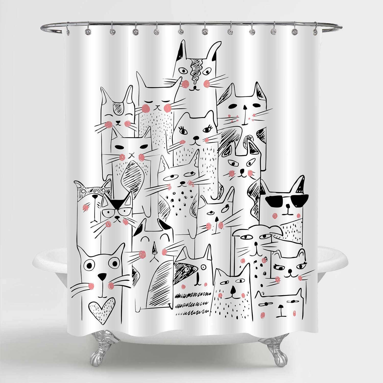 mitovilla funny cat shower curtain set
