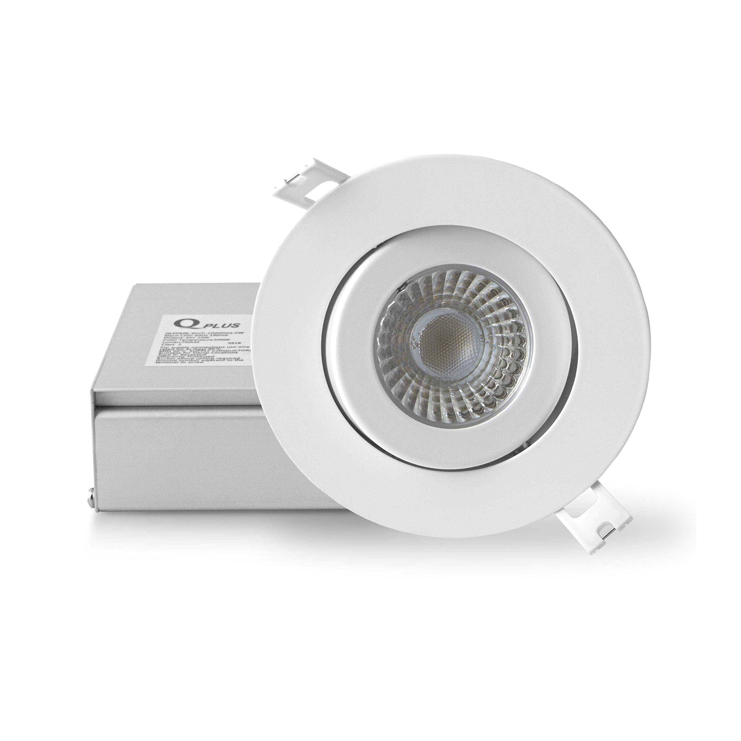 qplus 4 inch airtight eyeball gimbal led recessed lighting with junction box canless downlight 10 watts 750lm dimmable energy star and cetlus