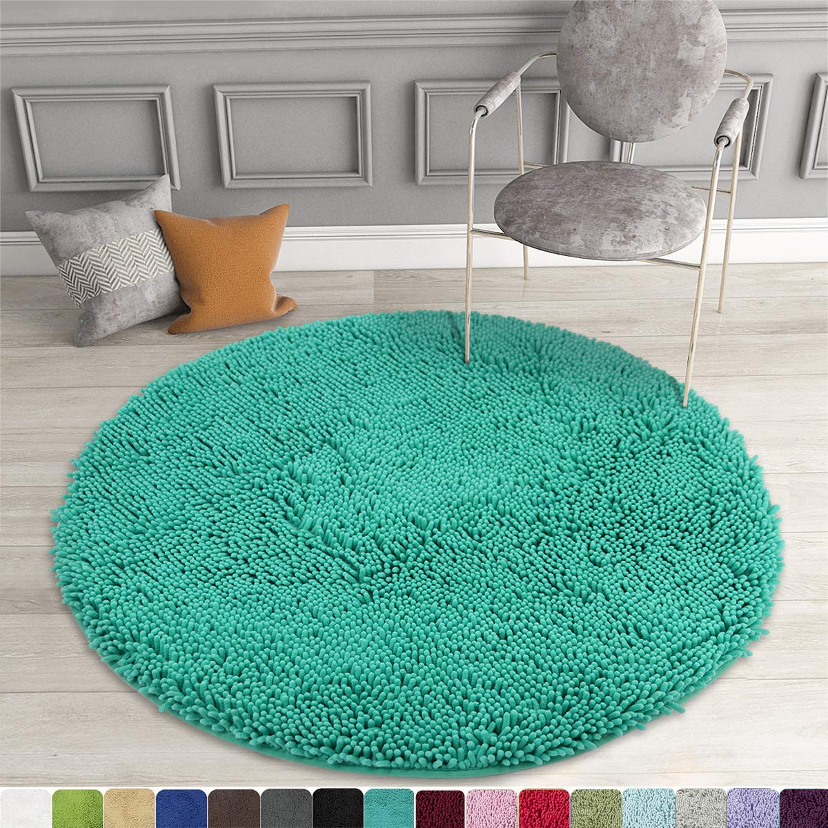 Mayshine Round Bath Mat Non Slip Chenille 3 Feet Shaggy Bathroom Rugs Extra Soft And Absorbent Perfect Plush Carpet For Living Room Bedroom Machine Wash Dry Turquoise