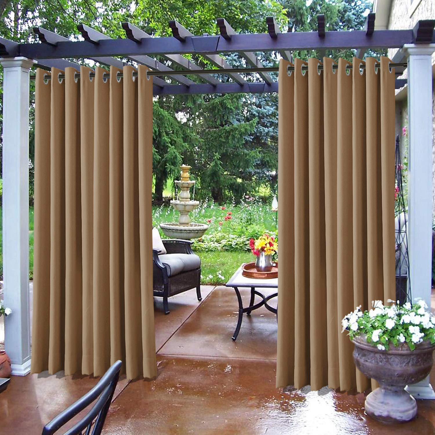 frelement outdoor curtains for patio indoor outdoor decoration water repellent heat insulated outside drapes for gazebo dock wheat 100w x 84l 1