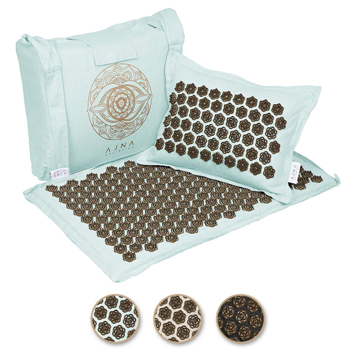 ajna acupressure mat and pillow set natural organic linen cotton acupuncture mat bag back pain relief neck pain relief stress reliever