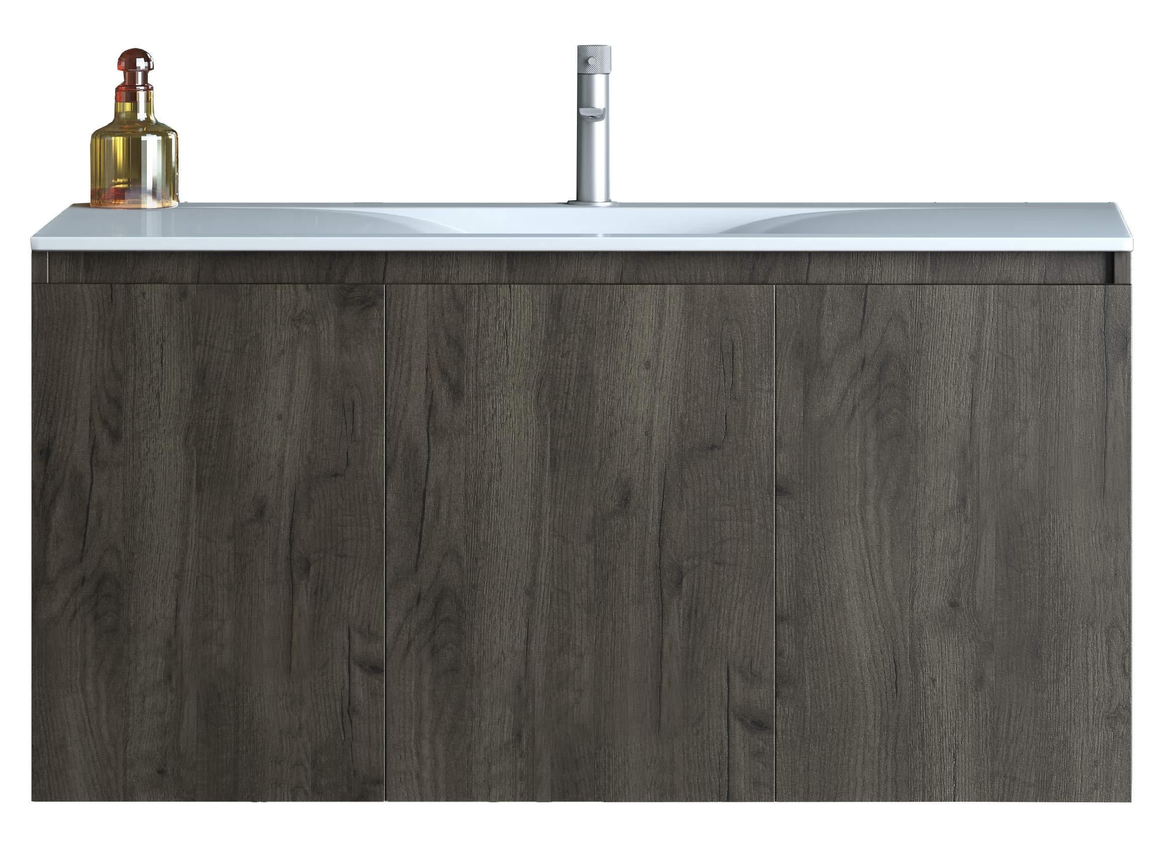 belvedere bath floating bathroom vanity wall mounted sink countertop combo set natural walnut brown finish with white porcelain top 3 door