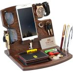 Teslyar Wood Phone Docking Station Hooks Key Holder Wallet Watch Stand Watch Organizer Men Gift Husband Anniversary Dad Birthday Nightstand Purse Father Graduation Male Travel Gadgets Natural Ash Wood