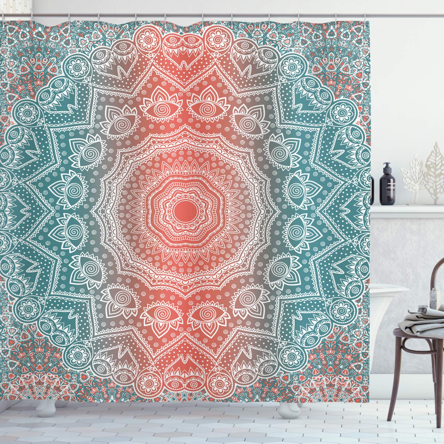ambesonne coral and teal shower curtain