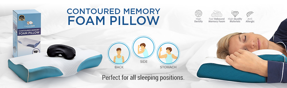 contoured orthopedic memory foam pillow for neck and shoulder pain support firm cool blue foam ergonomic cervical pillows for side back stomach