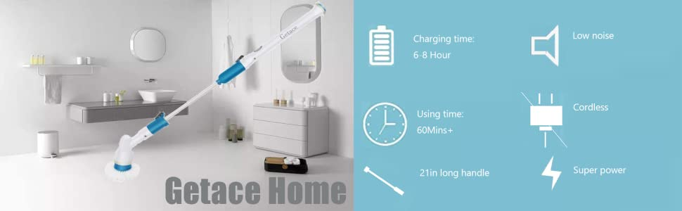 getace electric spin scrubber 360 cordless power bathroom scrubber super power surface cleaner with 3 replaceable brush heads extension handle for