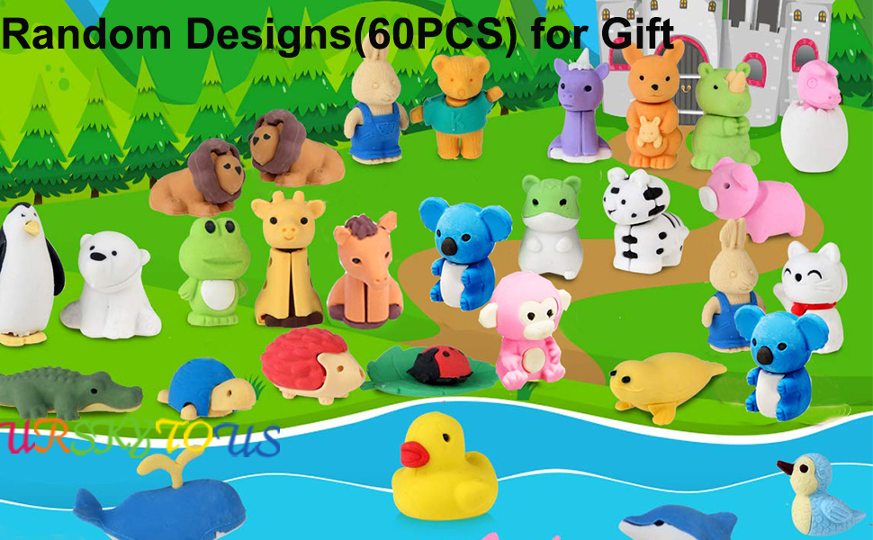 urskytous 60pcs animal pencil erasers bulk kids japanese come apart puzzle eraser toys for party favors classroom prizes carnival gifts and school