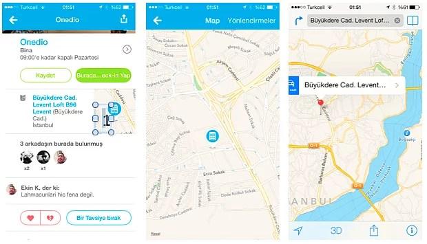 """iPhone'da adres bulmanın en kolay yolu Foursquare'dir. Gireceğiniz yerin adını yazacaksınız, çıkan sonuçtan haritaya basacaksınız, daha sonra foursquare içinde açılan haritada sağ üstteki """"Yönlendirmeler""""e basacaksınız. Böylece Apple Maps direk olarak açılıp sizi gideceğiniz yere götürüyor! Çok kolay!"""