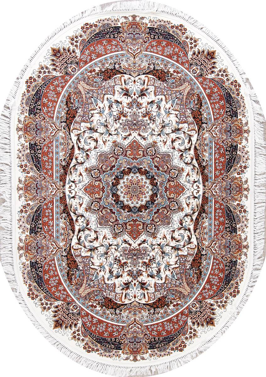 Transitional Ivory Floral Tabriz Turkish Oriental 5x7 Oval